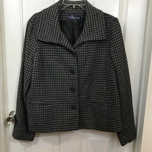 American Living Gray & Black Houndstooth Jacket